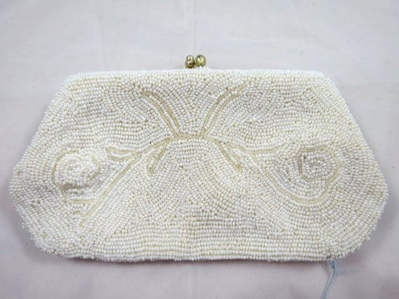 Vintage White Bead Handbag Clutch Style Silk Lined Bead Design Heavily Beaded Snap Closure Formal Wedding White on White Evening Bag