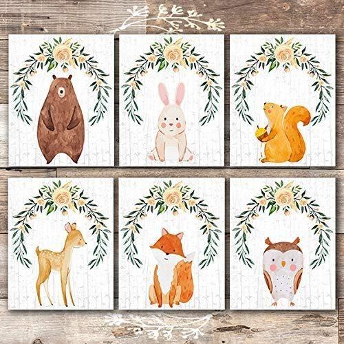 Woodland Animals Nursery Decor Wall Art Prints (Set of 6) - Unframed - 8x10s - Framed Prints / Black