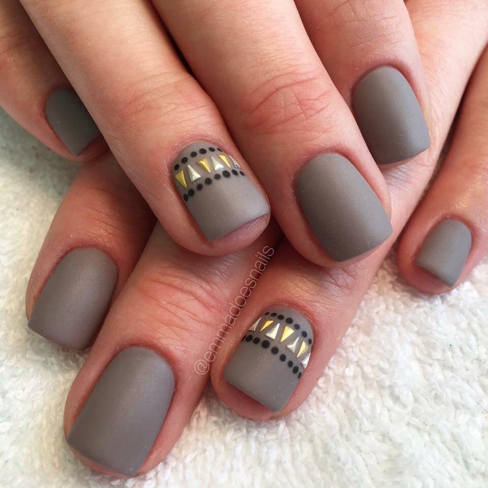 Matte nails gray nails taupe nails tribal nails Aztec nails nail art nail  design short nails cute nails summer nails fall nails gel mani Love these  Matte ... - Matte Nails Gray Nails Taupe Nails Tribal Nails Aztec Nails Nail