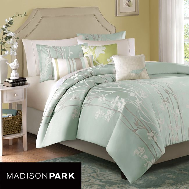 Dress up your bedroom in cool sophistication with this seafoam blue six-piece duvet cover set, which is a nature-inspired, jacquard design. The set includes a duvet cover, two shams, two decorative square pillows and one oblong pillow.
