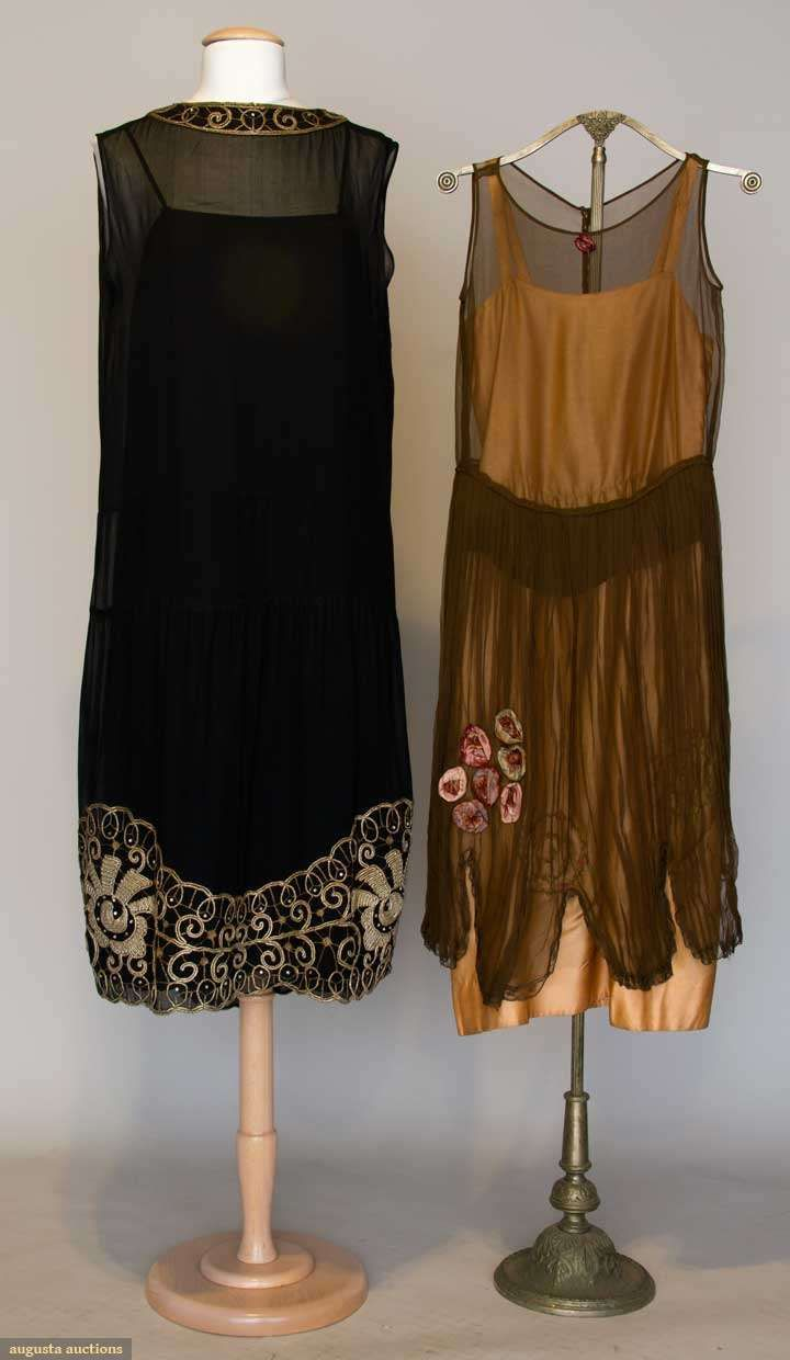Augusta Auctions, April 17, 2013 - NYC, Lot 336: Two Silk Party Dresses, 1920s