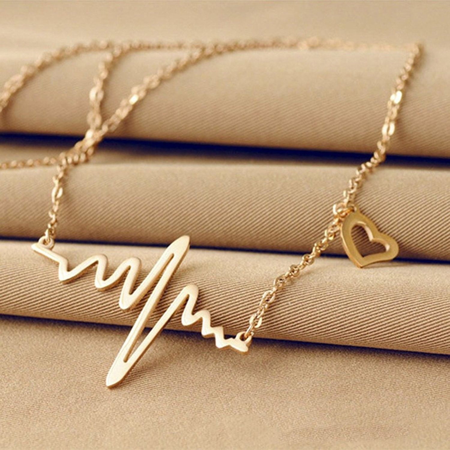 ECG Heart Bohemian Life Love Silver Plated Pendant Necklace