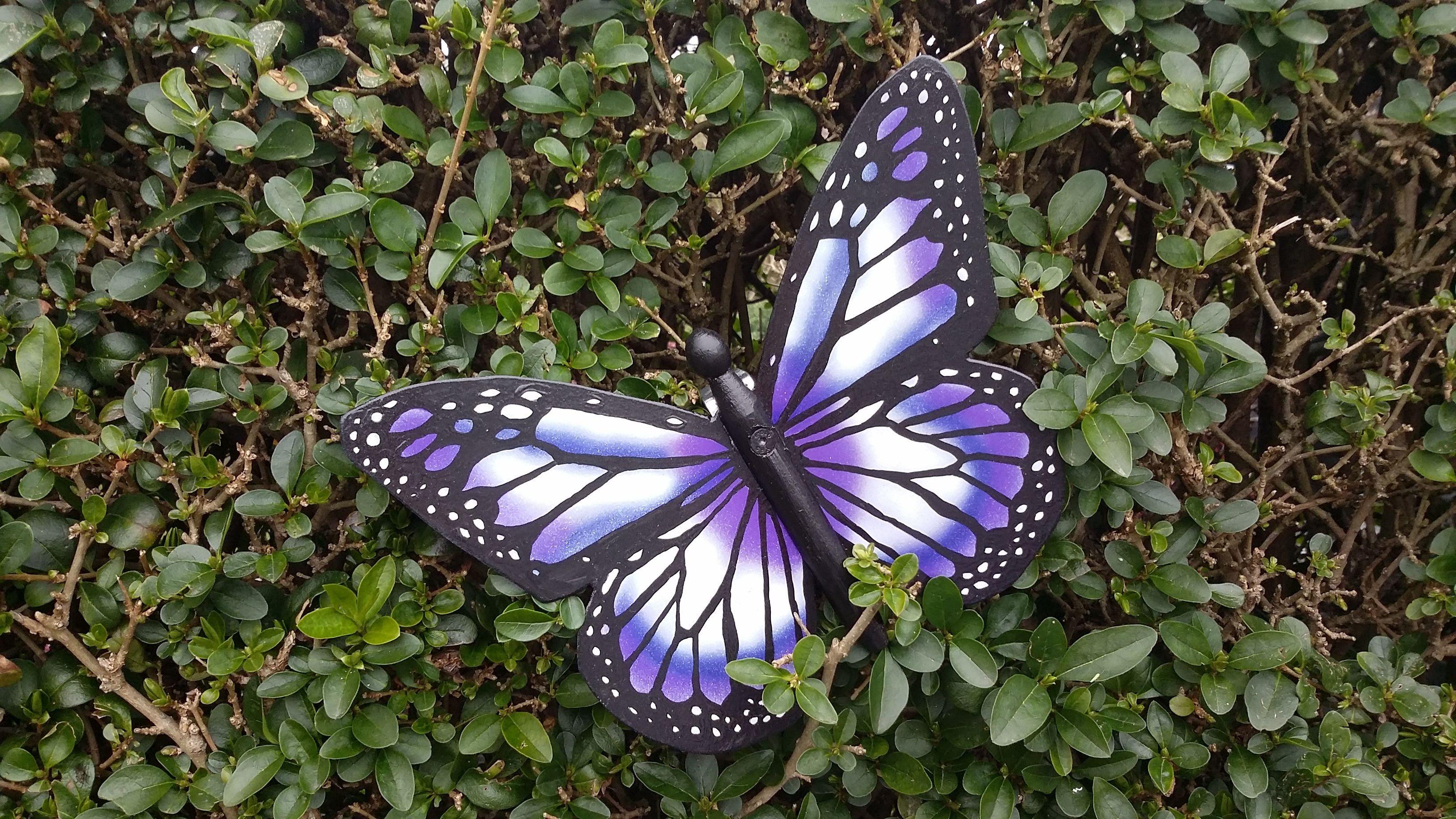Garden wall ornaments - Butterfly Airbrushed Handpainted Metal Bespoke Garden Wall Art