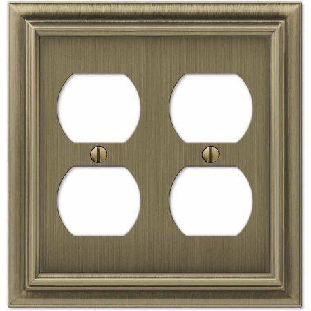 Continental Brushed Brass Cast Double Duplex Wallplate