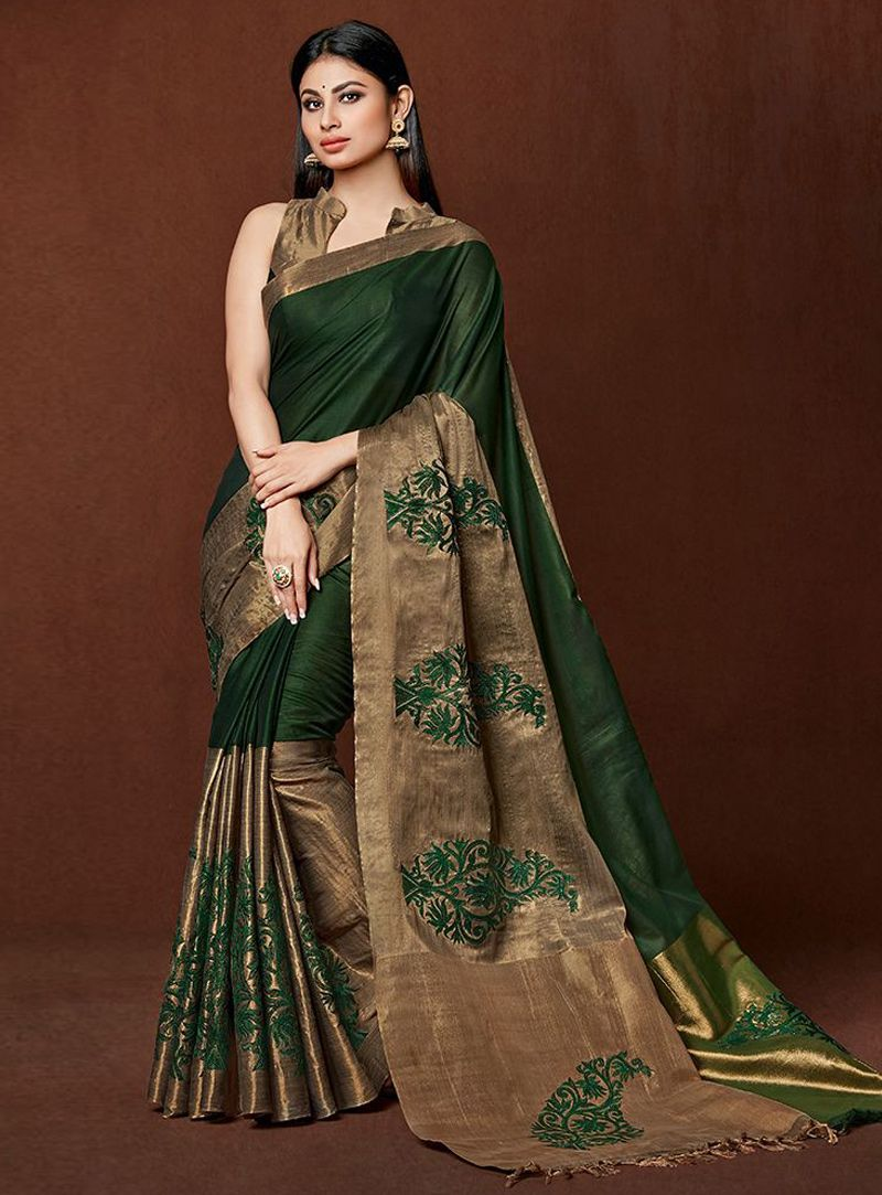 d79d7eeeb49b54 Mouni Roy Green Cotton Festival Wear Saree 96469 | Cotton Saree ...