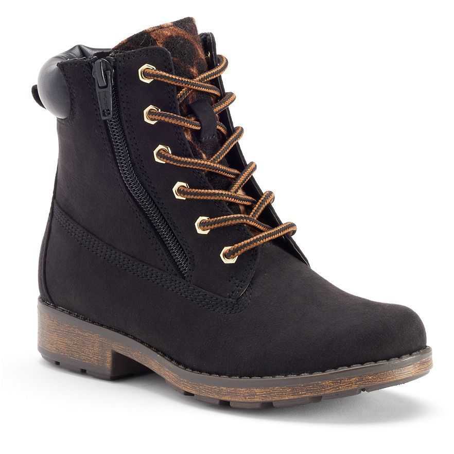 Lace-Up Ankle Boots in Black -Leopard