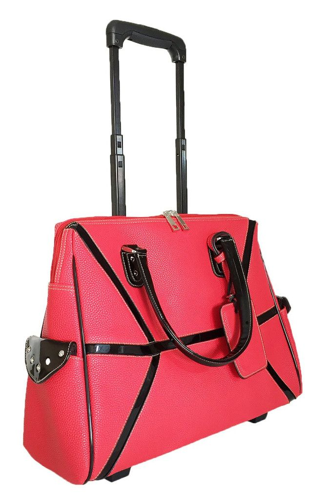 20 L Computer Laptop Bag Tote Duffel Rolling Wheel Case Purse Carry Tablet Red