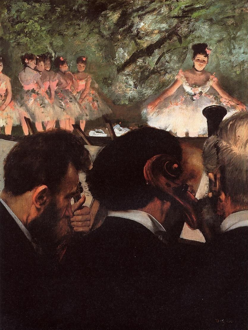 Musicians in the Orchestra (1872). Edgar Degas (French,Impressionism, 1834-1917). Oil oncanvas. Stadelsches Kunstinstitut. In Degas' second variation of hisorchestra scene,we see only the backs of their heads; the instruments are blocked from view. Degas radically reworked this painting several times, making space for the stage and his new chief protagonists – the dancers. The spotlight shimmers in their white and pink costumes. The dancers will have a formative impact on Degas' work.
