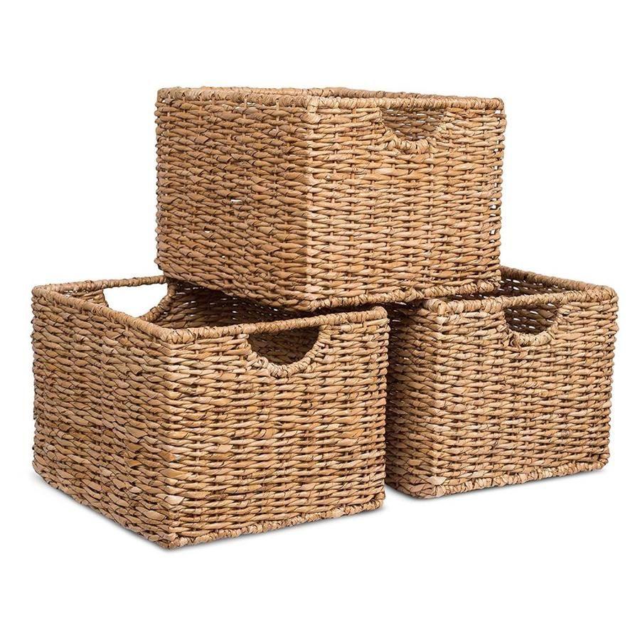 Birdrock Home 3 Pack 11 25 In W X 9 In H X 13 In D Brown Wicker Basket Lowes Com In 2021 Under Shelf Basket Basket Shelves Shelf Organization Wicker storage baskets for shelves
