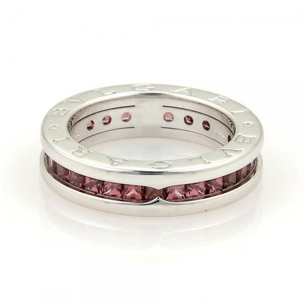 Pre-owned Bulgari 18K White Gold Garnet Stone Band Ring ($895) ❤ liked on Polyvore featuring jewelry, rings, stone jewelry, 18 karat gold ring, pre owned rings, white gold jewellery and 18 karat white gold ring