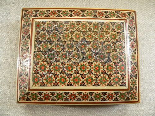Antique Persian Wooden Micro Mosaic Inlaid Box