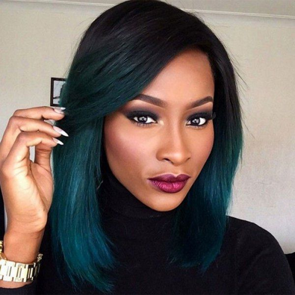 Attractive Women s Medium Straight Side Parting Ombre Color Synthetic Wig  (COLORMIX) in Synthetic Wigs  f8128c19b