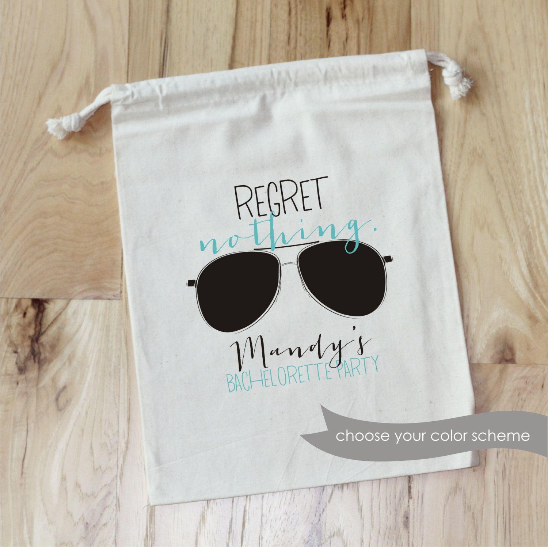 REGRET NOTHING - Personalized Favor Bags - Set of 10 - Bachelorette Party - Vegas by foryourlittlemonkey on Etsy https://www.etsy.com/listing/227115254/regret-nothing-personalized-favor-bags