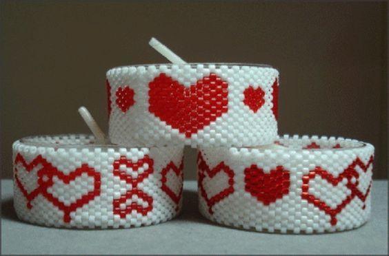 Hearts Galore Tea Light Cover Set | Bead-Patterns