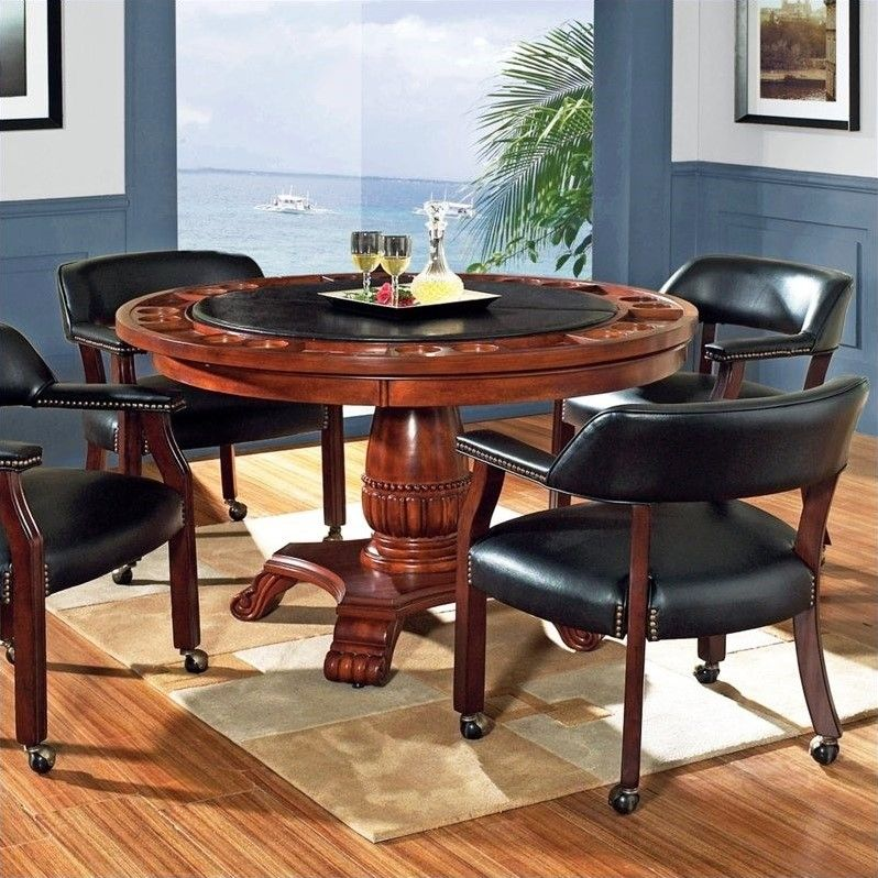 Game Table Multi Step Rich Cherry, Round Gaming Table With Chairs