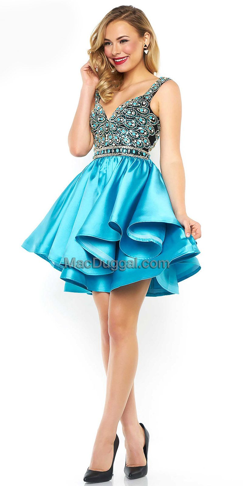 91553344065 Fit and Flare Embellished Peacock Homecoming Dress by Mac Duggal  edressme