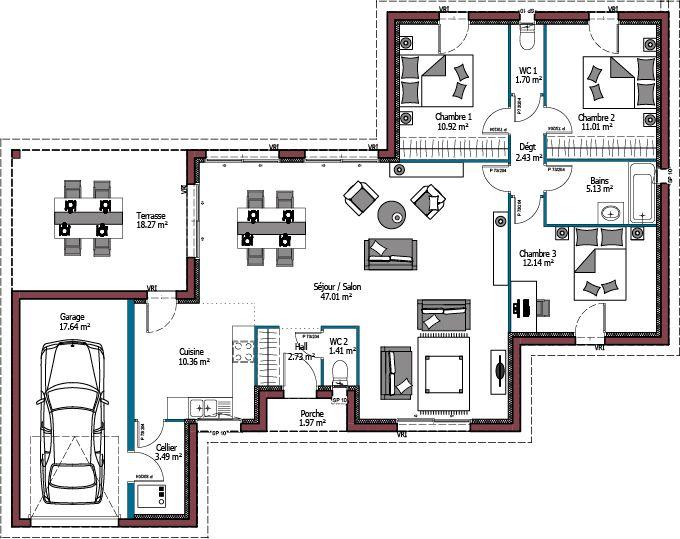 Modele Evolution Plan Maison 3 Chambres De 108m Maison A Toit Plat Avec Terrasse Maisons Mca Maison Mca Plan Maison 100m2 Plan De Maison Toit Plat
