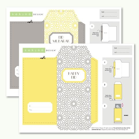 photograph regarding Free Printable Money Envelopes titled Printable Eid Economic Envelope (Yellow + Gray) Plans Revenue