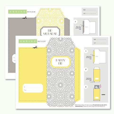 Printable Eid Money Envelope (Yellow + Grey) Ideas Pinterest - money envelope template