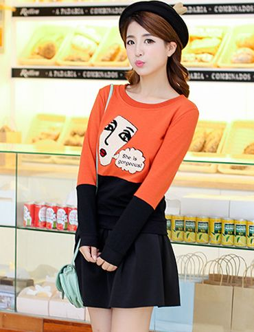 Korean Cartoon Printed Contrast Color Tee For Women | Item Code 726565 at M.EastClothes.com
