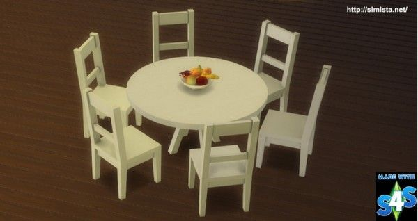Simista Six Seat Round Dining Table Sims 4 S