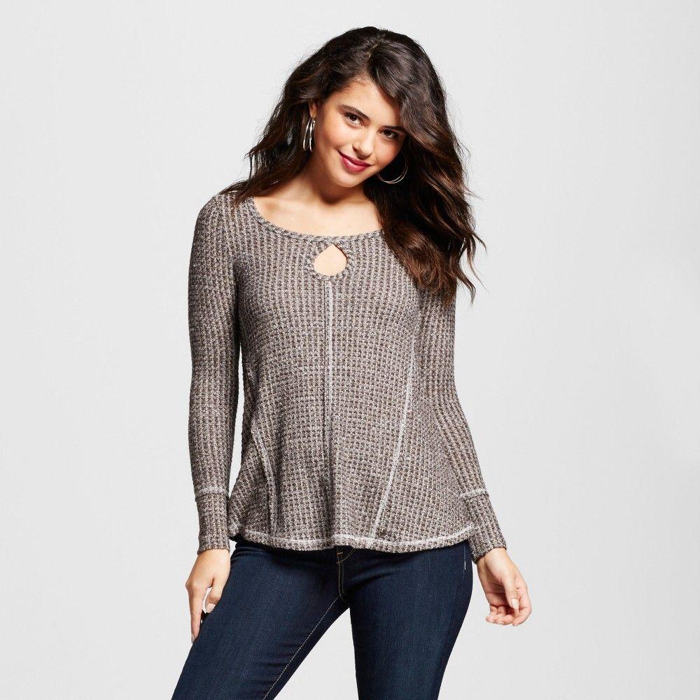 Women's Keyhole Lace Back Waffle Knit Top