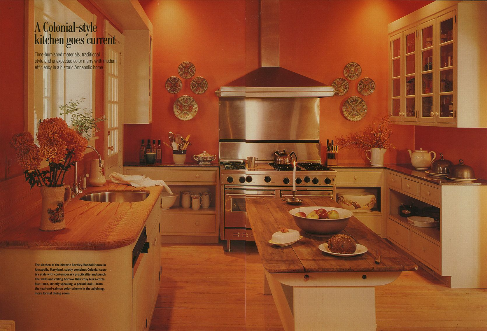 Kitchen With Orange Walls Cream Cabinets And Wooden Counters Home Magazine May 1991 Orange Kitchen Walls Burnt Orange Kitchen Orange Kitchen