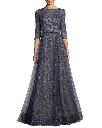 1eed0da3a4e Elno 3 4-Sleeve Metallic Tulle Evening Gown by Rene Ruiz at Neiman Marcus.