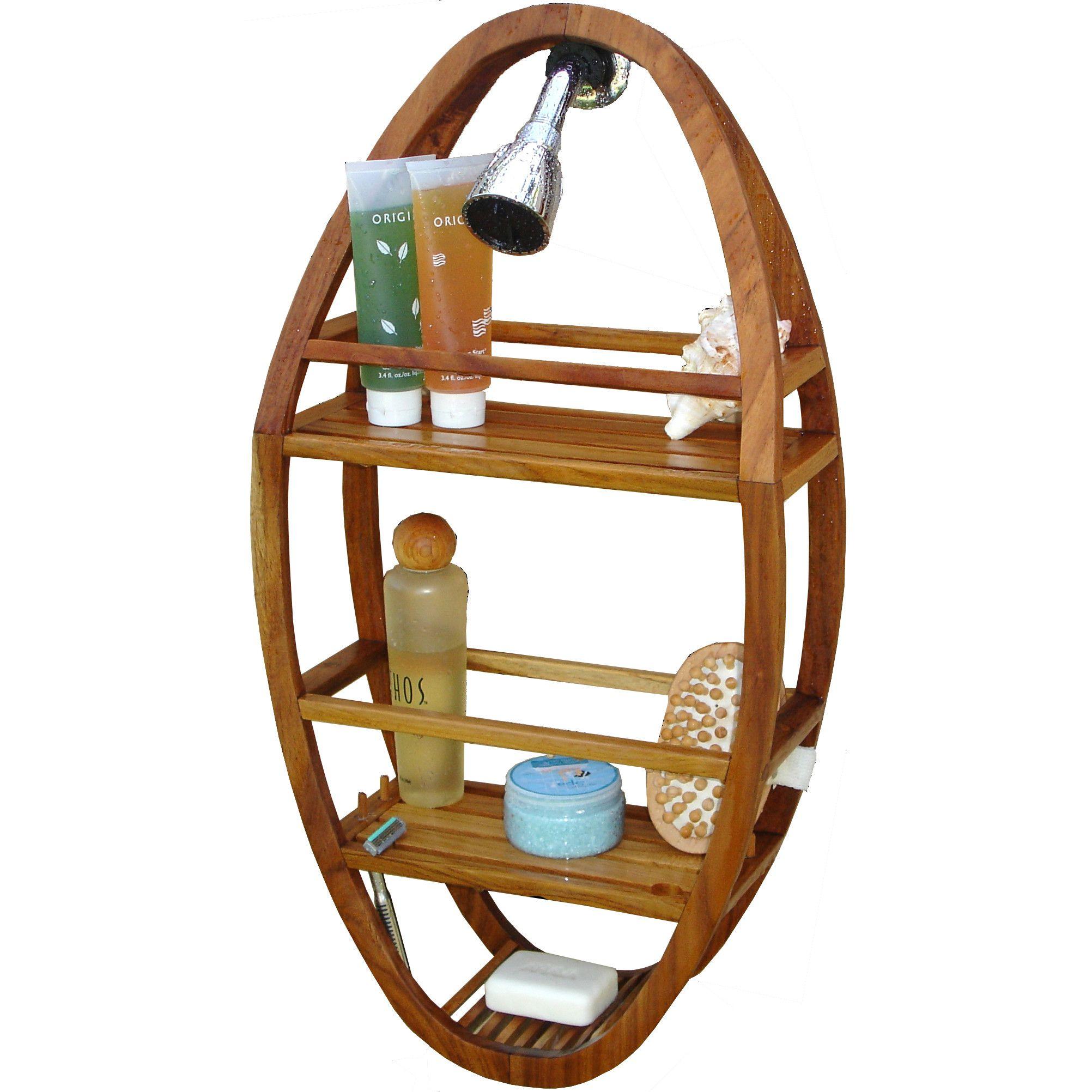 Teak Spa Teak Oval Shower Organizer, ideal for a \