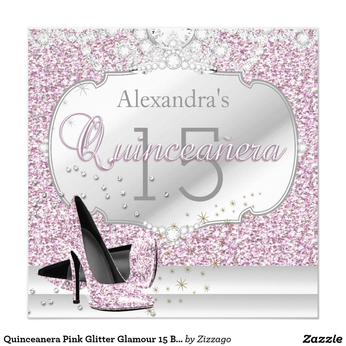 Quinceanera Pink Glitter Glamour 15 Birthday Party Invitation ...