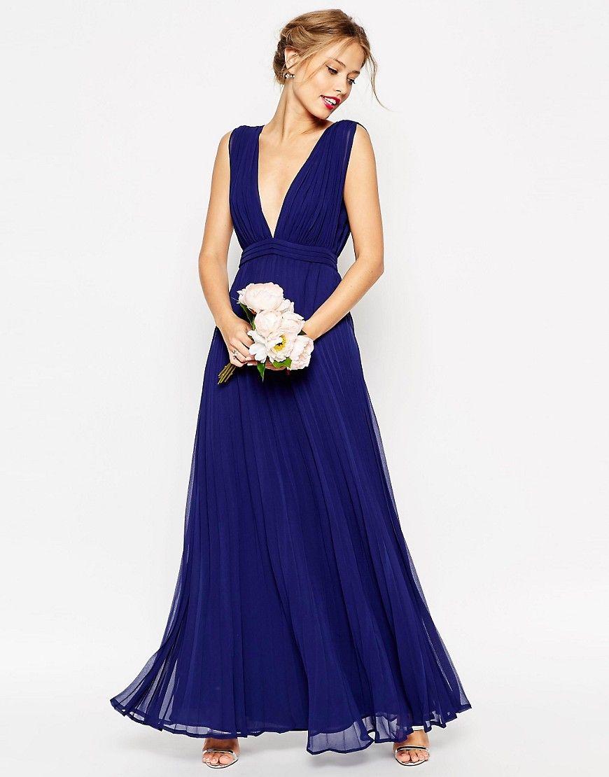 Bridesmaid dresses that wonut break the bank pleated maxi banks