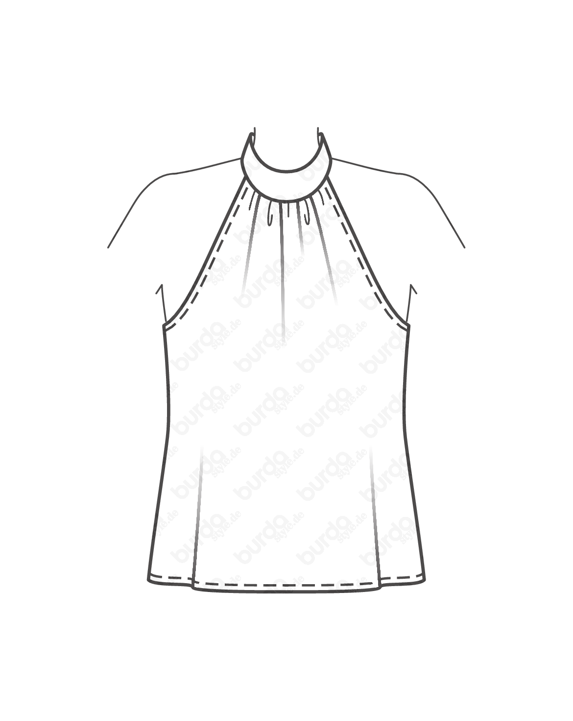 Schnittmuster · Neckholder Bluse · Erinnert an mondäne Tops der 60s, das Modell mit Stehkragen