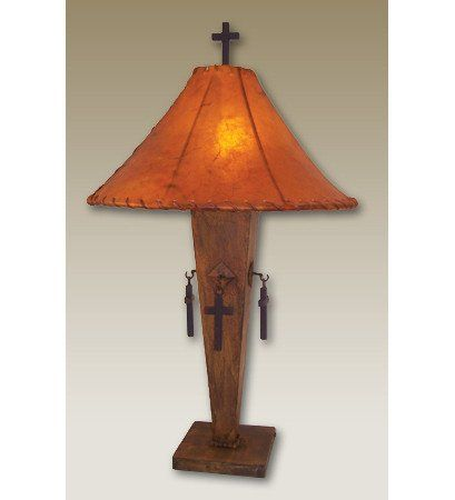 Rustic Metal Cross Lamp Wood Lamps Lodge Decor Metal
