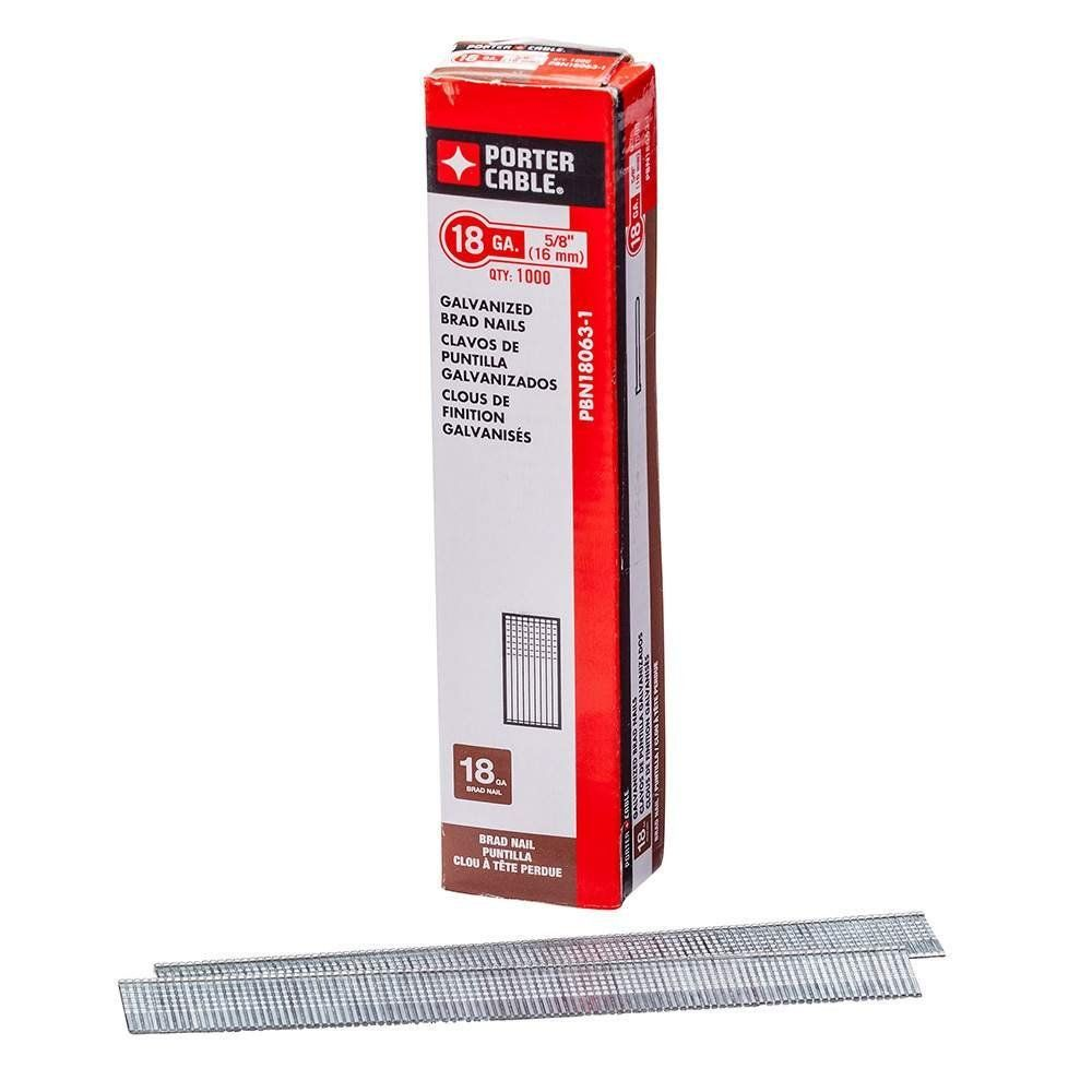 PORTER-CABLE PBN18063-1 5/8-Inch 18 Gauge Brad Nails, 1000-Pack ...