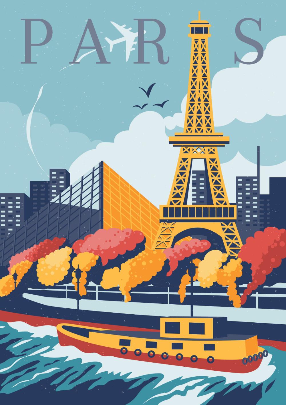 Paris Travel Poster Eiffel Tower Travel Poster France Travel Poster Vintage Poster Paris P Paris Travel Poster Vintage Wall Art Prints Paris Poster Vintage