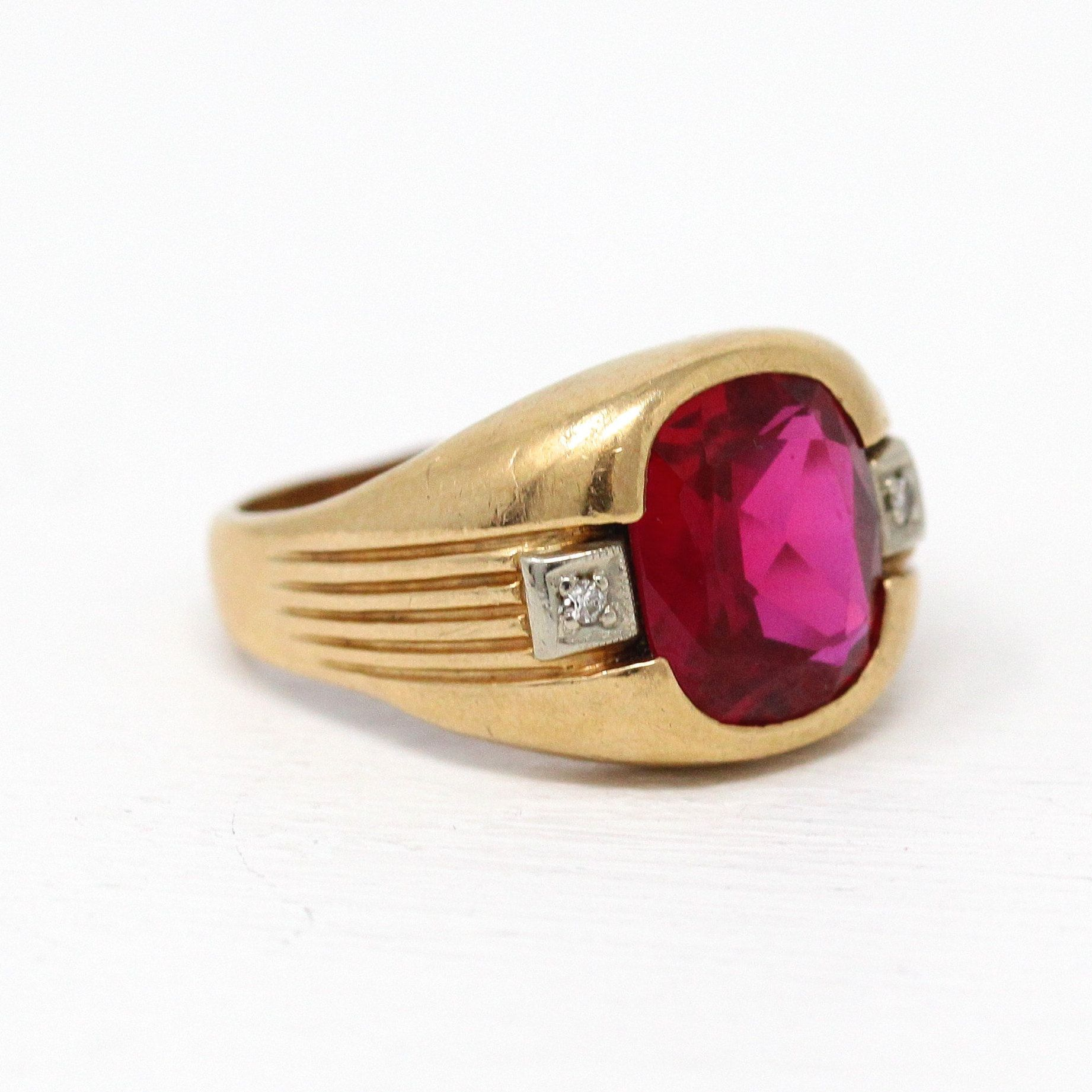 Sale Created Ruby Ring Size 10 1 2 Vintage 10k Yellow Gold 1940s Pink Red July Birthstone Antique Mens Jewelry Antique Rings Vintage Vintage Fine Jewelry
