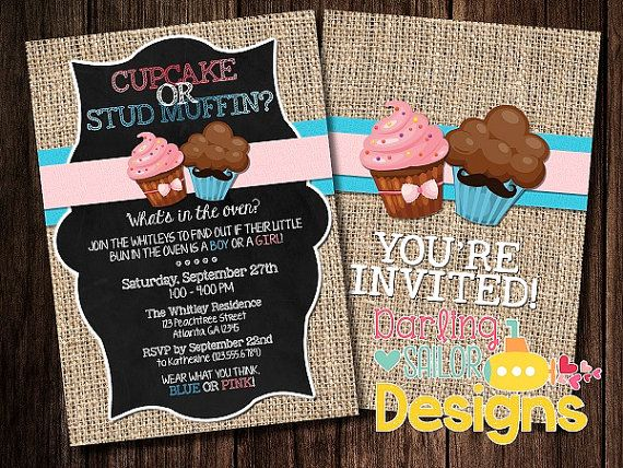 This Is It Our Official Cupcake Or Stud Muffin Gender Reveal Invitatio Gender Reveal Party