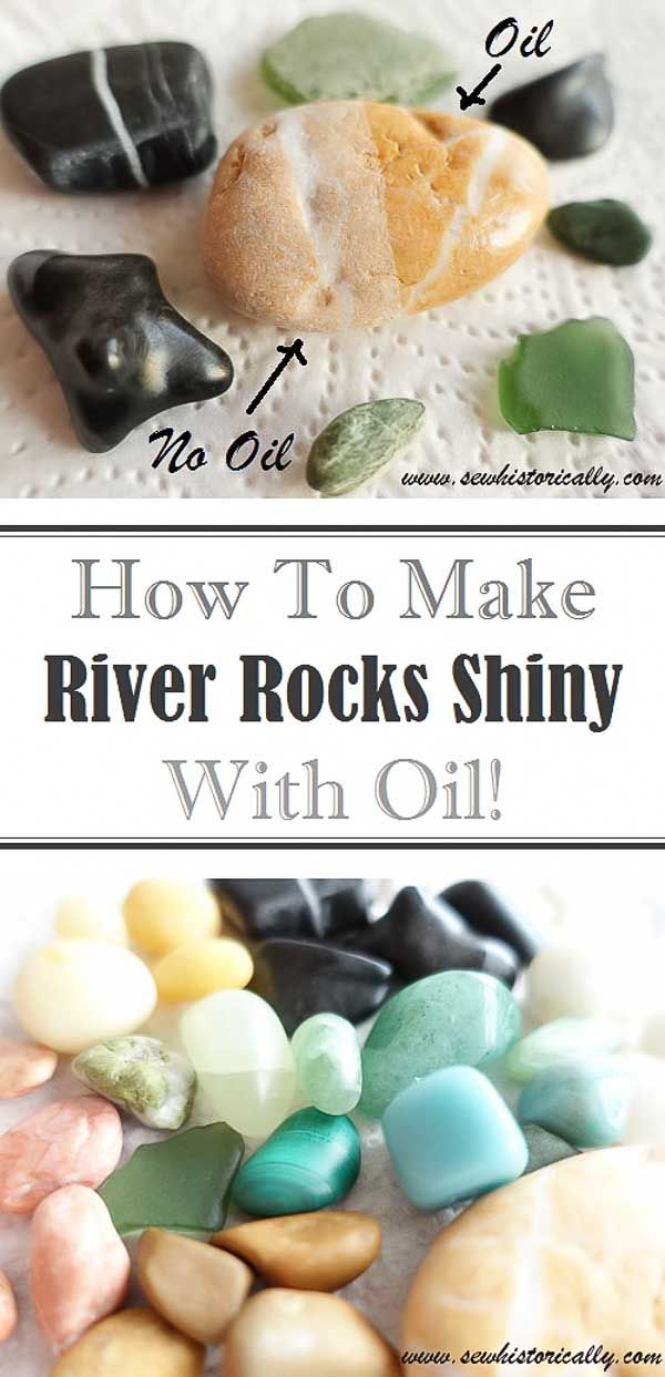 How To Make River Rocks Shiny With Oil - Sew Historically