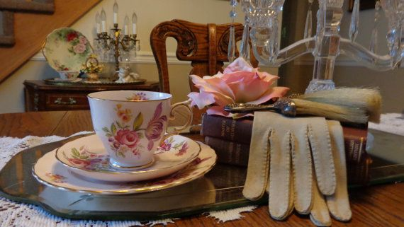 Vintage  Teacup Saucer And  Cake Plate Pink by TribecasTreasures
