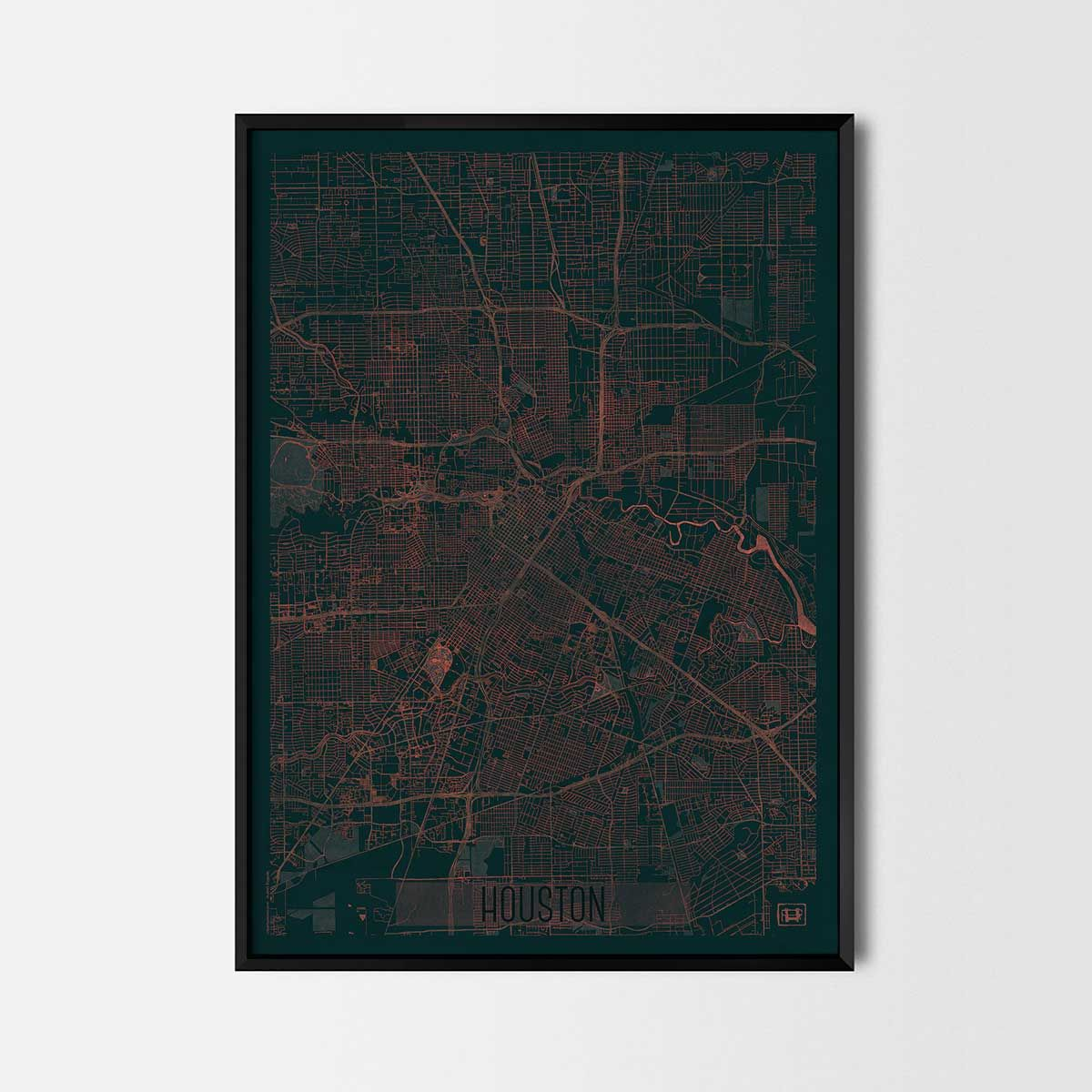 Houston Map Framed%0A Houston city posters  Art posters and prints of your favorite city  Unique  design of