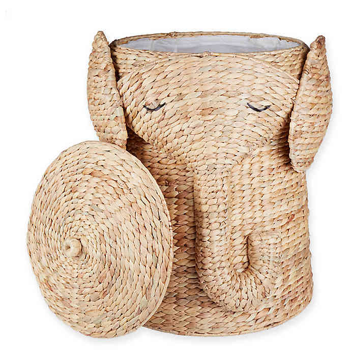 Marmalade Handwoven Elephant Laundry Hamper With Liner In Natural
