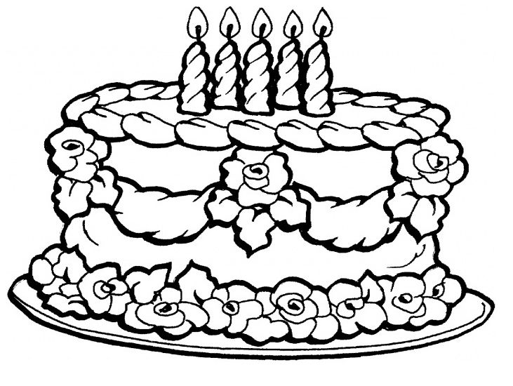 Happy Birthday Cake Coloring Pictures