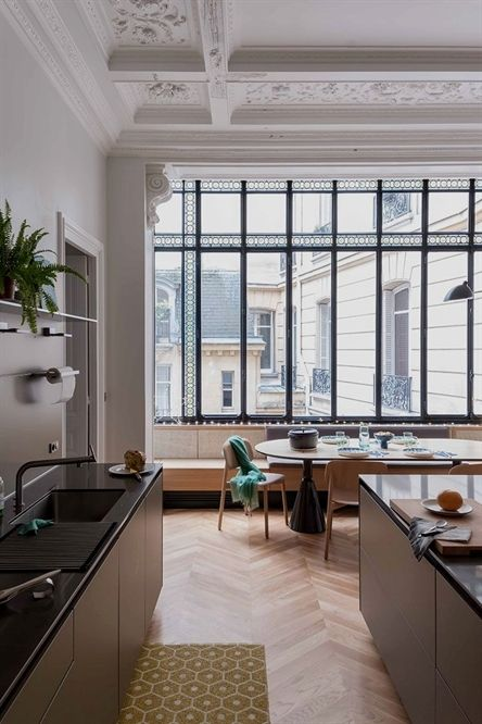Apartment with stained glass window and unusual wallpapers in paris pufik beautiful interiors also rh pinterest