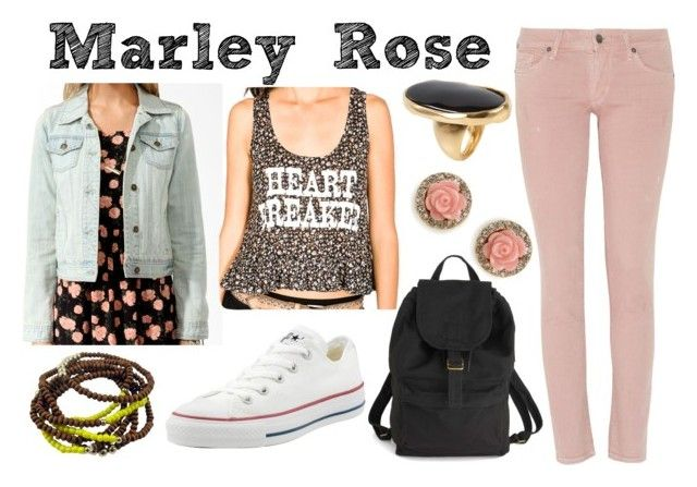 """""""Marley Rose - Dynamic Duets (Glee)"""" by silvanacavero ❤ liked on Polyvore featuring Converse, Forever 21, Citizens of Humanity, BAGGU, BaubleBar, Kenneth Jay Lane, pink jeans, floral top, leather backpack and marley"""