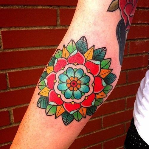 Inspiration Traditional Tattoo Flowers Tattoos Colorful Flower Tattoo