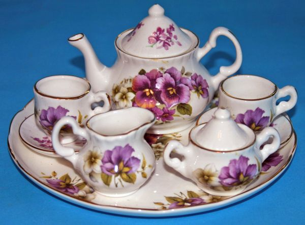 Crown Windsor: Fine Bone China miniature teaset painted with Purple Pansies.Made in Staffordshire. #teasets