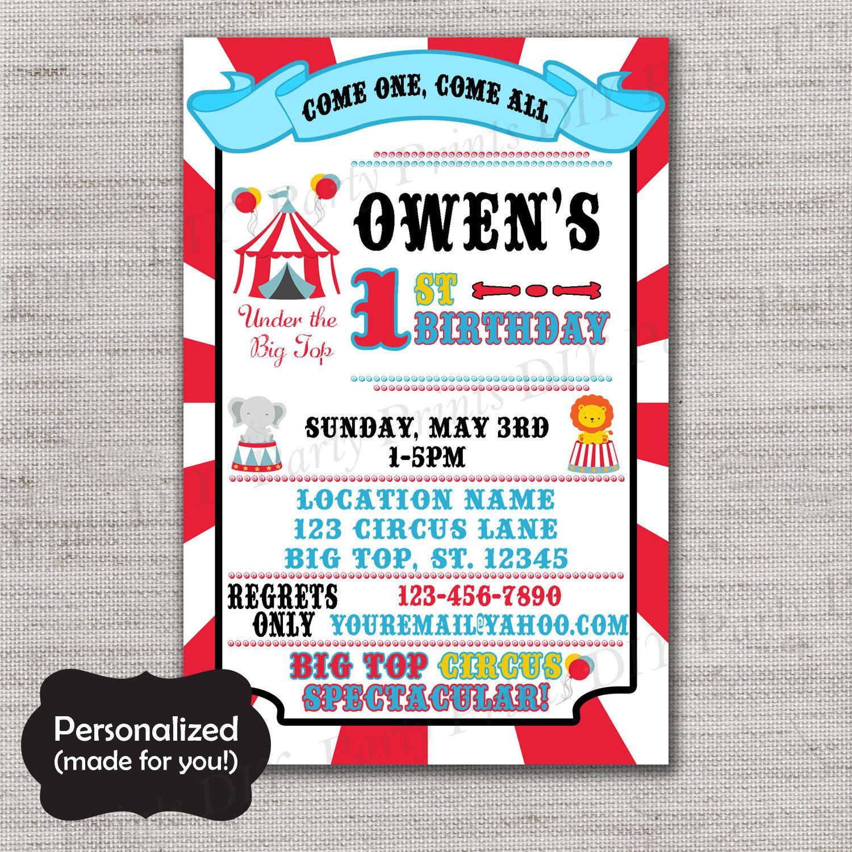 Circus Birthday invite,Carnival Birthday invite,JPG file,Birthday ...