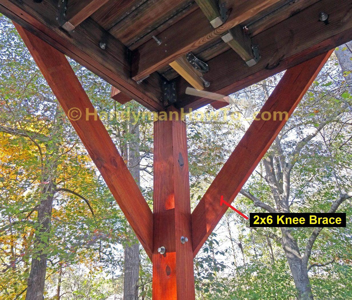 How To Install Deck Post Knee Braces Deck Posts Wood Deck Deck