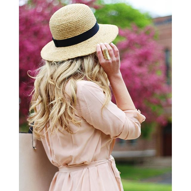 b04077790a0efa panama hat, pink dress, spring outfit, long blonde hair, hairstyle, pretty