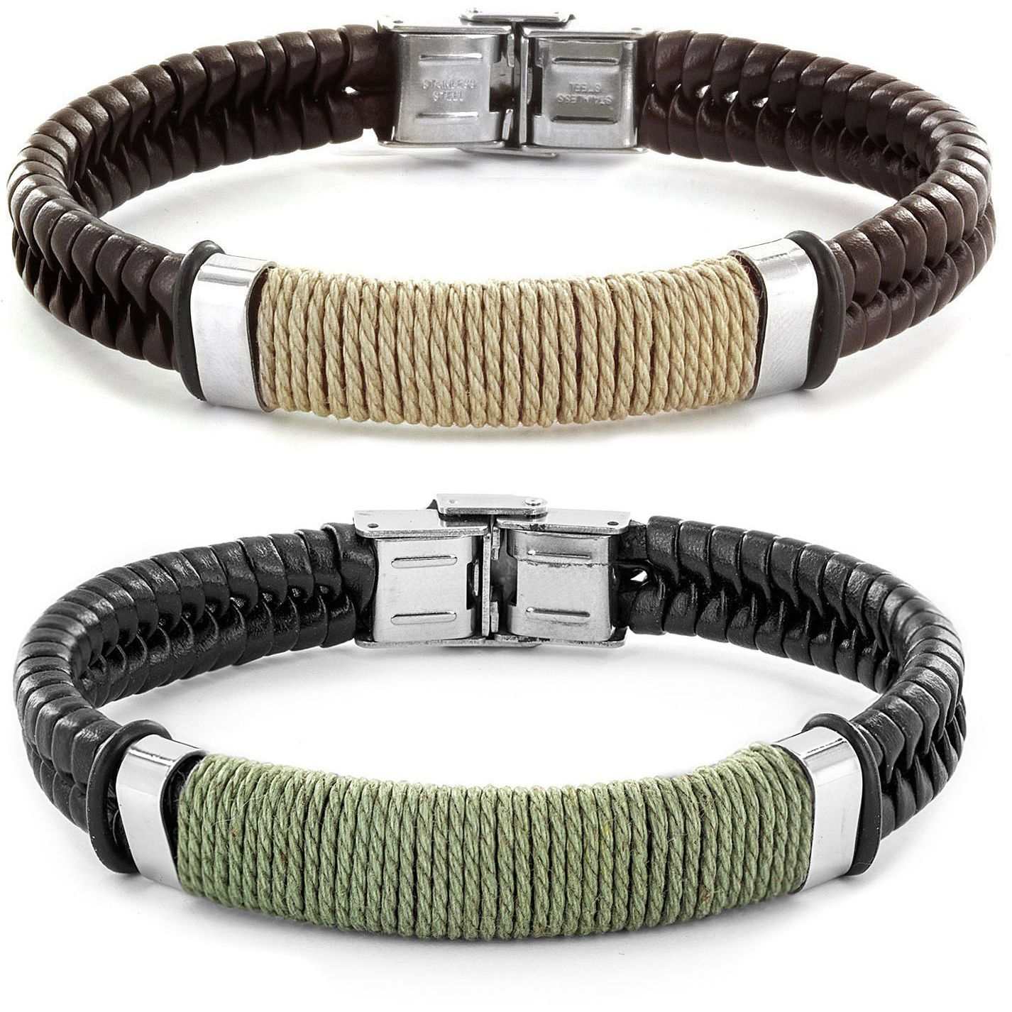 Stylish and uniquely rugged, this brown or black genuine leather bracelet features a braided band and stainless steel clasp, along with a tightly wound twine center for a tough, weathered look.